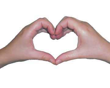The trademark heart hand gesture called the heartmark