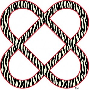 Power of Infinite Goodness in Zebra pattern and red outline with the trademark symbol near it