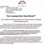 Press Release from the 2009 Licensing Show Presenting the heart hand gesture for licensing