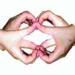 Two hands make the heartmark to overlap and create the Power Symbol