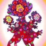 red heartflower in vignette