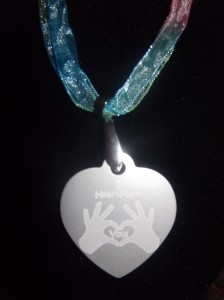 HeartMark Hands, open fingers, dog tag necklace