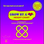 cover of box that contains the Grow by a Heart height chart with wooden hearts and the Power of Infinite Goodness