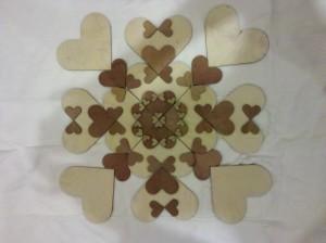Heart Mandala made of wooden hearts
