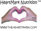 HeartMark heart hand photo with trademark symbols and the heartmark web address and HeartMark Nutrition title