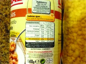 nutritional label, serving suggestions, serving size, beans can, European food label system